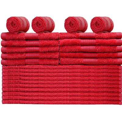 24 Piece Towel Set Color: Tango Red