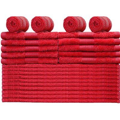 Rackley 24 Piece Washcloth Color: Tango Red
