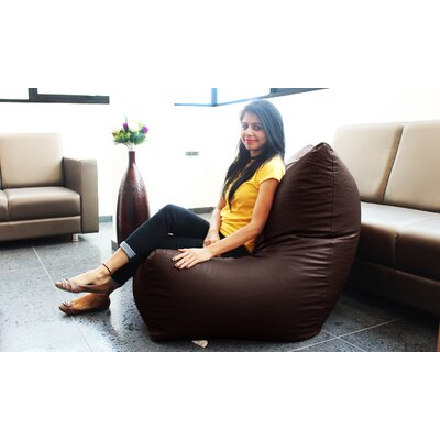 Full Comfort Bean Bag Chair Cover Upholstery: Choco Brown