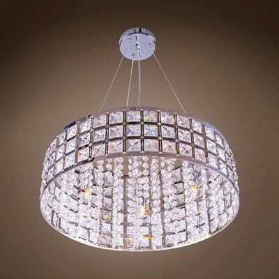 Alexa 5-Light LED Drum Pendant Crystal Color: Clear, Crystal Grade: Asfour