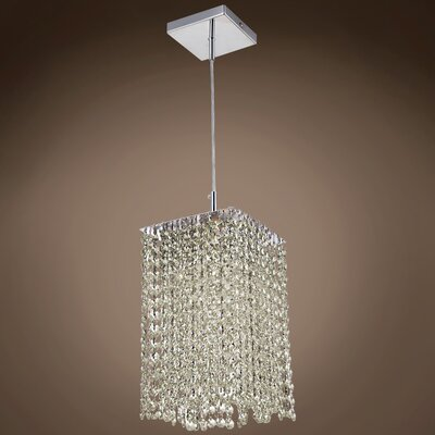 Alexa 1-Light LED Crystal Pendant Crystal Color: Cognac, Crystal Grade: European