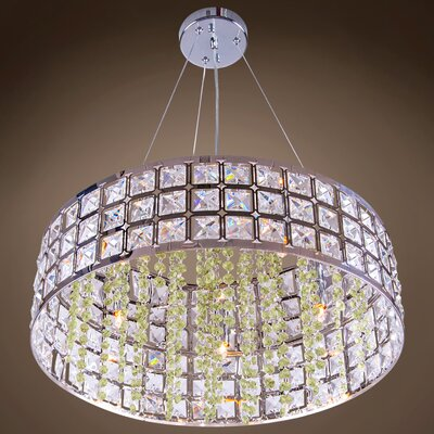 Alexa 5-Light LED Drum Pendant Crystal Color: Cognac, Crystal Grade: European