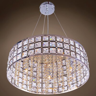 Alexa 5-Light Drum Pendant Crystal Color: Golden Teak, Crystal Grade: European