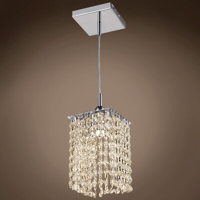Alexa 1-Light LED Crystal Pendant Crystal Grade: European, Crystal Color: Golden Teak