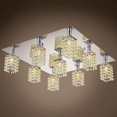 Alexa 9-Light Flush Mount Crystal Color: Golden Teak