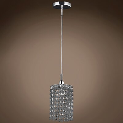 Alexa 1-Light Crystal Pendant Crystal Grade: European, Crystal Color: Smoke