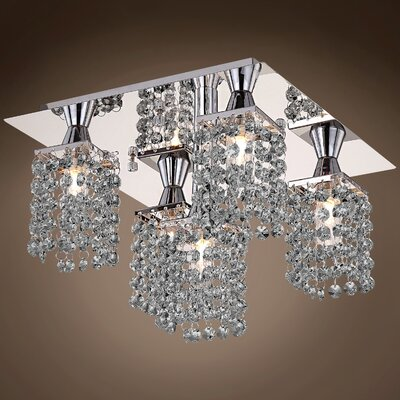 Alexa 5-Light Flush Mount Crystal Color: Smoke
