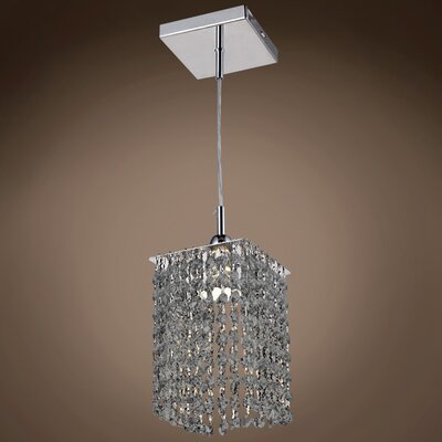 Alexa 1-Light Crystal Pendant Crystal Color: Smoke, Crystal Grade: European