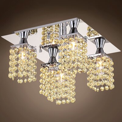 Alexa 5-Light Flush Mount Crystal Color: Golden Teak