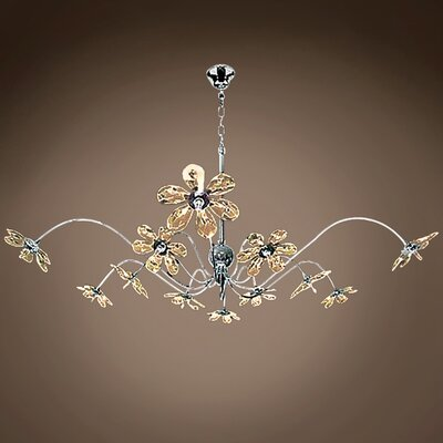 Alexa 12-Light LED Crystal Chandelier Crystal Grade: European, Crystal Color: Golden Teak