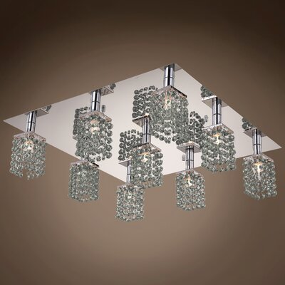 Alexa 9-Light Flush Mount Crystal Color: Smoke