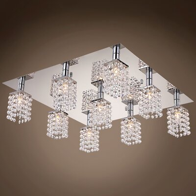 Alexa 9-Light Flush Mount Crystal Color: Clear