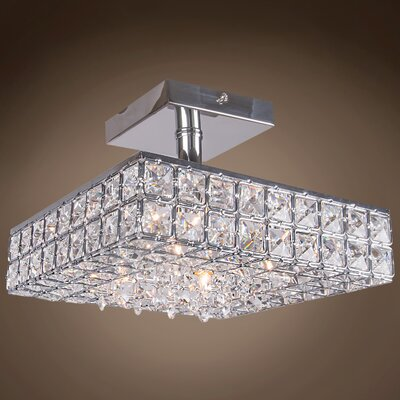 Alexa 4-Light Contemporary Semi Flush Mount Crystal Color: Clear