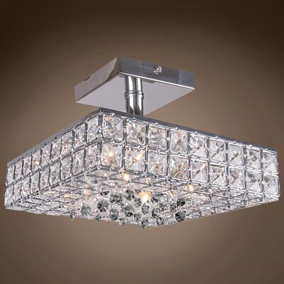 Alexa 4-Light Contemporary Semi Flush Mount Crystal Color: Smoke