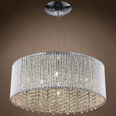 Alexa 10-Light LED Crystal Pendant Crystal Grade: European, Crystal Color: Cognac