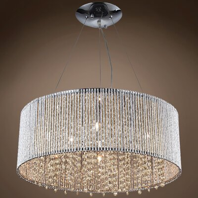 Alexa 10-Light LED Crystal Pendant Crystal Grade: European, Crystal Color: Golden Teak
