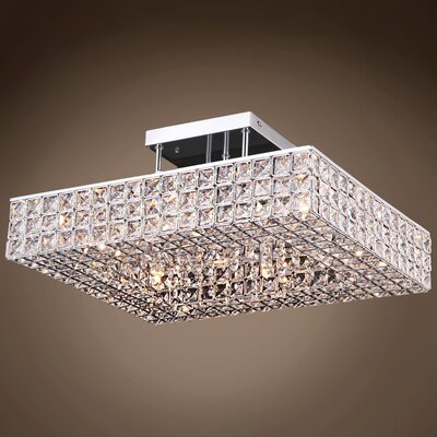 Alexa 6-Light Contemporary LED Semi Flush Mount Crystal Grade: Asfour