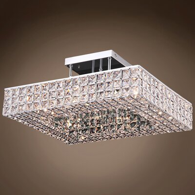Alexa 6-Light LED Semi Flush Mount Crystal Color: Smoke