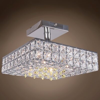 Alexa 4-Light LED Semi Flush Mount Crystal Color: Golden Teak