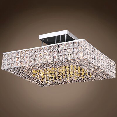 Alexa 6-Light Semi Flush Mount Crystal Color: Cognac