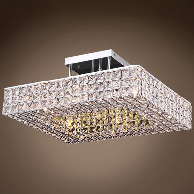 Alexa 6-Light LED Semi Flush Mount Crystal Color: Golden Teak