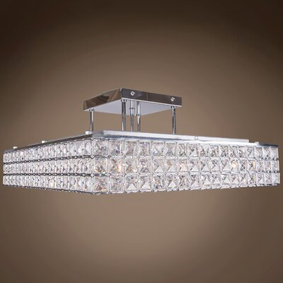 Alexa 8-Light 40W LED Semi Flush Mount Crystal Grade: Swarovski