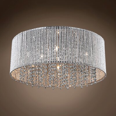 Alexa 10-Light Flush Mount Crystal Color: Smoke