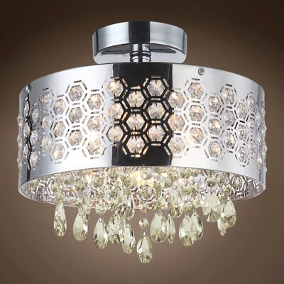 Alexa 4-Light Crystal Semi Flush Mount Crystal Color: Golden Teak