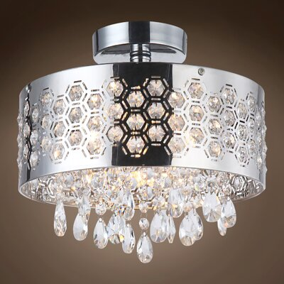 Alexa 3-Light LED Semi Flush Mount Crystal Color: Clear