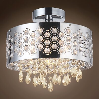 Alexa 4-Light Crystal Semi Flush Mount Crystal Color: Cognac