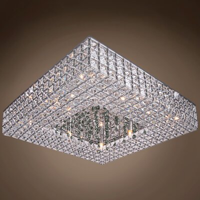 Alexa 8-Light LED Semi Flush Mount Crystal Color: Smoke