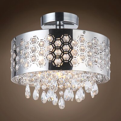 Alexa 4-Light Crystal Semi Flush Mount Crystal Color: Clear