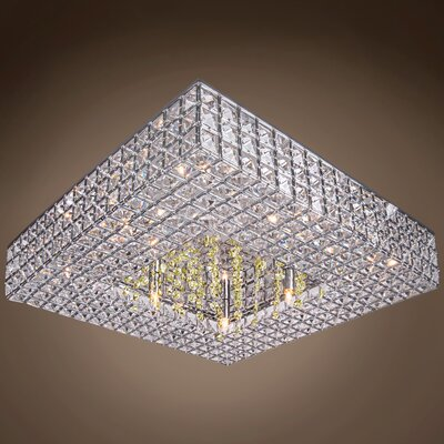 Alexa 8-Light Semi Flush Mount Crystal Color: Golden Teak
