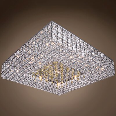 Alexa 8-Light LED Semi Flush Mount Crystal Color: Cognac