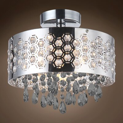Alexa 4-Light Crystal Semi Flush Mount Crystal Color: Smoke