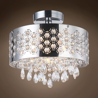Alexa 3-Light Semi Flush Mount Crystal Color: Clear