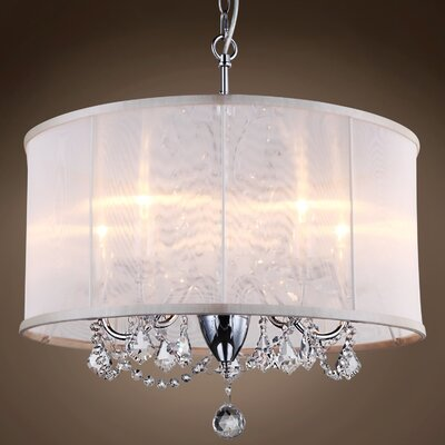 Brantwood 5-Light LED Drum Chandelier Crystal: Golden Teak
