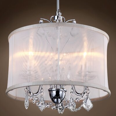 Teignmouth 3-Light Drum Chandelier Crystal: Clear Asfour