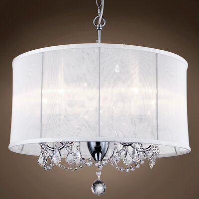 Branyan 6-Light Drum Chandelier Crystal: Clear Asfour