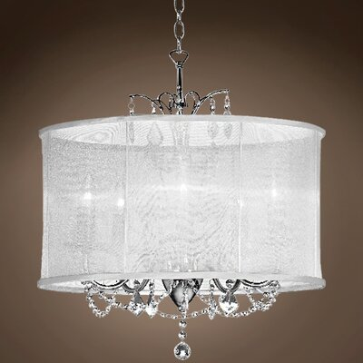 Brawlin 5-Light LED Drum Chandelier Crystal: Clear Asfour