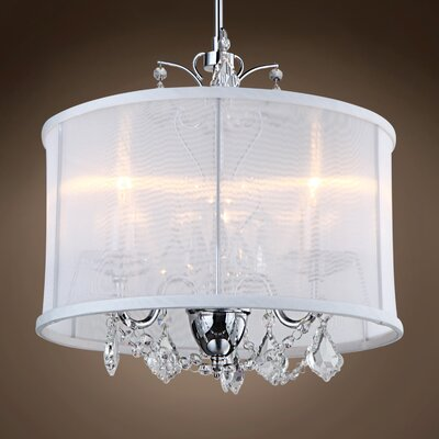 Hastings 3-Light Drum Chandelier Crystal: Clear Asfour