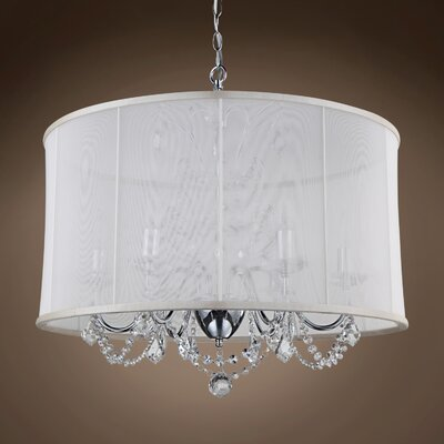 Eudora 6-Light Drum Chandelier Crystal: Clear Swarovski