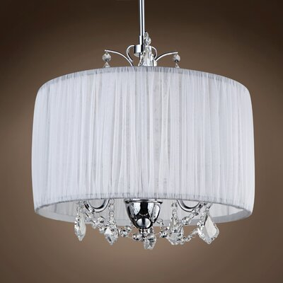 Adolphe 3-Light Drum Chandelier Crystal: Golden Teak