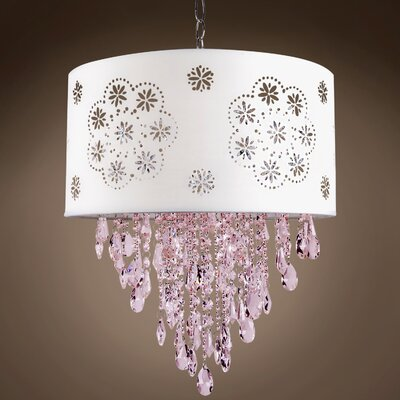 Graber 1-Light LED Drum Chandelier Crystal: Pink European, Shade Color: White