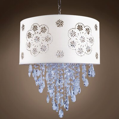 Graber 1-Light LED Drum Chandelier Crystal: Blue European, Shade Color: White