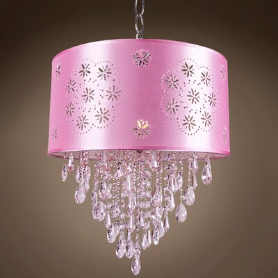Graber 1-Light LED Drum Chandelier Crystal: Clear European, Shade Color: Pink