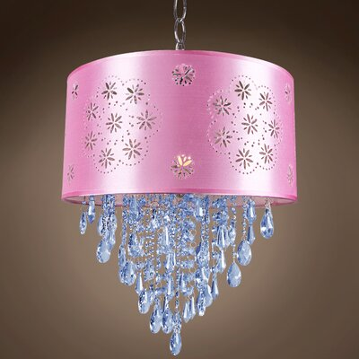 Graber 1-Light LED Drum Chandelier Crystal: Blue European, Shade Color: Pink