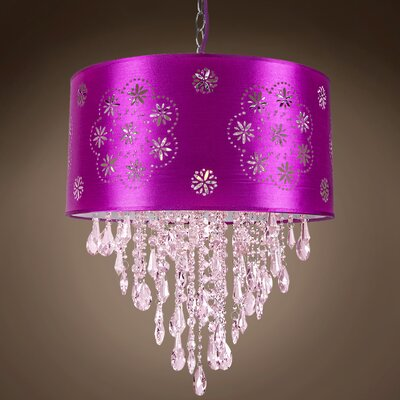 Graber 1-Light Drum Chandelier Shade Color: Purple, Crystal: Pink European