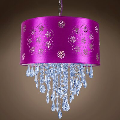 Graber 1-Light LED Drum Chandelier Crystal: Blue European, Shade Color: Purple