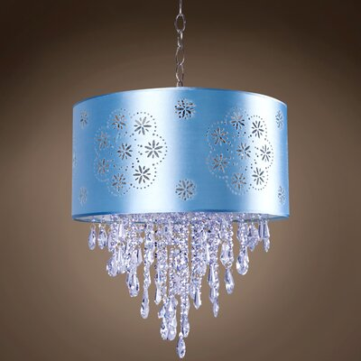 Graber 1-Light Drum Pendant Shade Color: Blue, Crystal: Blue European